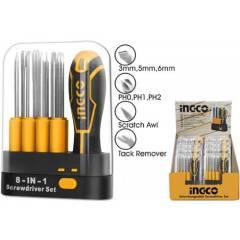 Отвертка со сменными насадками INGCO AKISD0901