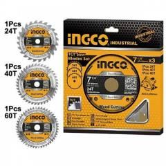Набор пильных дисков по дереву 185 мм, 3 шт INGCO TSB51852153 INDUSTRIAL